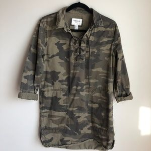 Forever 21 Lace Up Camouflage Over-Sized Dress